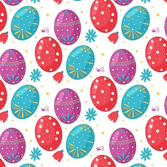 Padrão sem emenda de flores e ovos de páscoa. perfeito para papel de parede, papel de presente, preenchimentos de padrão, plano de fundo de página da web, primavera e cartões de páscoa