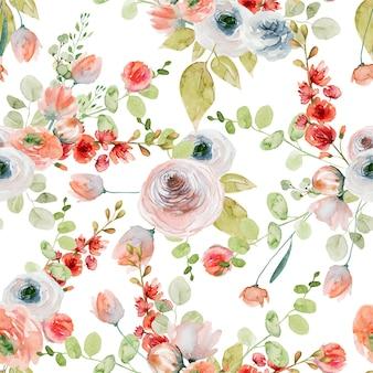 Padrão sem emenda de flores em aquarela de rosas cor de rosa e brancas, flores silvestres e ramos de eucalipto