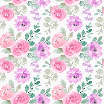 Padrão sem emenda de flores em aquarela rosa roxas