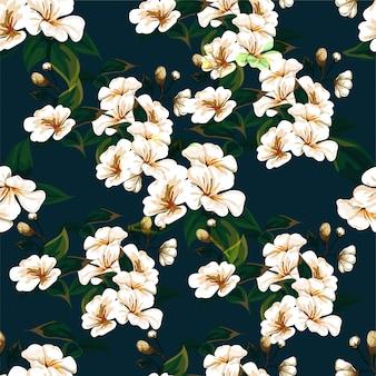 Padrão sem emenda de flores em azul escuro