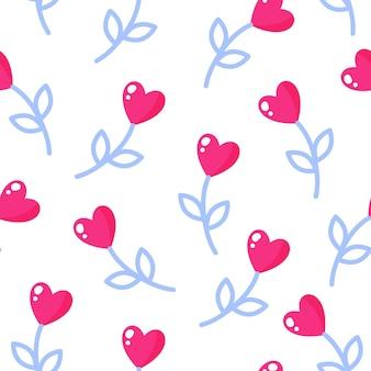 Padrão sem emenda de flores em forma de coração para o casamento ou dia dos namorados.