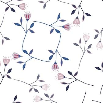 Padrão sem emenda de flores silvestres bonito simples isolado no fundo branco.
