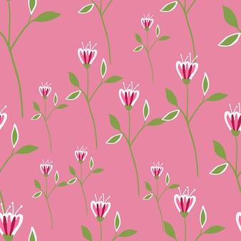 Padrão sem emenda de flores silvestres gráfico em fundo rosa.
