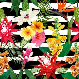 Padrão sem emenda de flores tropicais. flor do lírio de tigre e hibiskus. aguarela florescendo