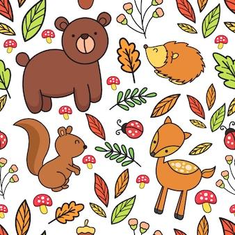 Padrão sem emenda de floresta animal bonito dos desenhos animados