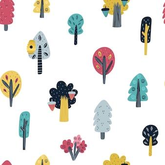 Padrão sem emenda de floresta com ilustração de árvores fofas