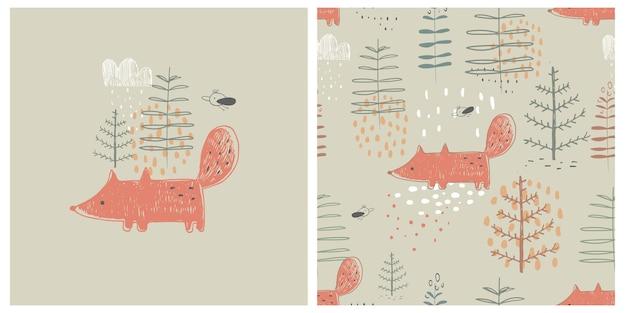 Padrão sem emenda de floresta com raposa engraçada. ilustração em vetor desenhada à mão.