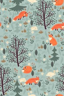 Padrão sem emenda de floresta com raposas e lebres.
