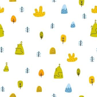 Padrão sem emenda de floresta. paisagem com montanhas, árvores, árvores de natal em um estilo escandinavo simples infantil desenhado à mão doodle cartoon. fundo de vetor ingênuo ideal para roupas de bebê, têxteis