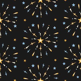 Padrão sem emenda de fogos de artifício em fundo noturno