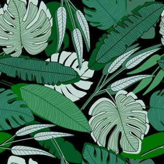 Padrão sem emenda de folha de palmeira de selva. papel de parede de folhas de palmeira ttropical.