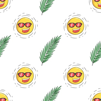Padrão sem emenda de folha e sol dos desenhos animados para o conceito de verão design com estilo doodle