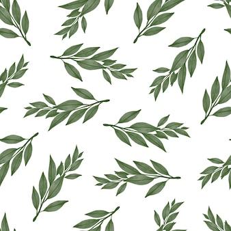 Padrão sem emenda de folha verde para design de tecido e plano de fundo