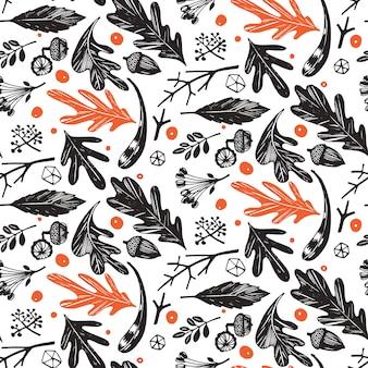 Padrão sem emenda de folhagem de outono em preto e branco, laranja
