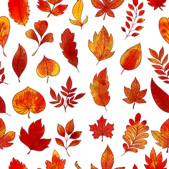 Padrão sem emenda de folhagem de outono