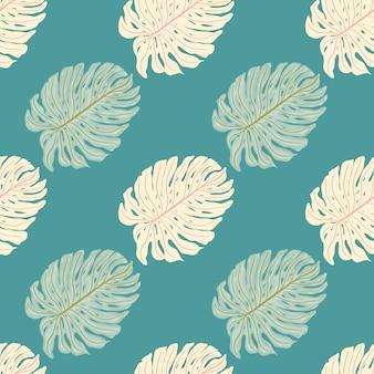 Padrão sem emenda de folhagem de palmeira tropical com formas de folha de monstera. fundo turquesa. cenário decorativo para desenho de tecido, impressão têxtil, embalagem, capa. ilustração vetorial.