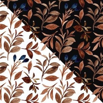 Padrão sem emenda de folhagem marrom aquarela com fundo preto e branco