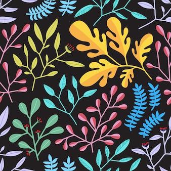 Padrão sem emenda de folhas coloridas