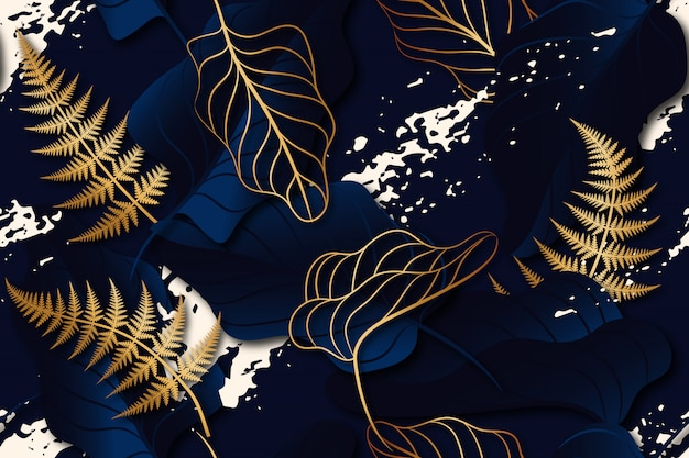 Padrão sem emenda de folhas com salpicos em fundo azul escuro