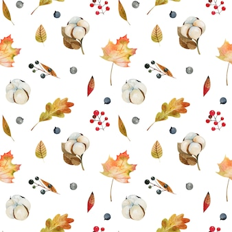 Padrão sem emenda de folhas de árvores de outono em aquarela, flores de algodão e frutos da floresta