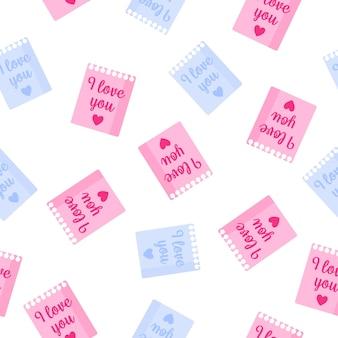 Padrão sem emenda de folhas de bloco de notas com inscrições para o casamento ou dia dos namorados.