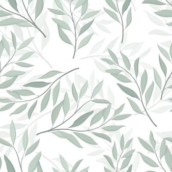 Padrão sem emenda de folhas de eucalipto desenhado à mão