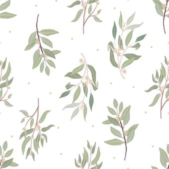 Padrão sem emenda de folhas de eucalipto orgânico com sementes orgânicas lindas desenhadas à mão