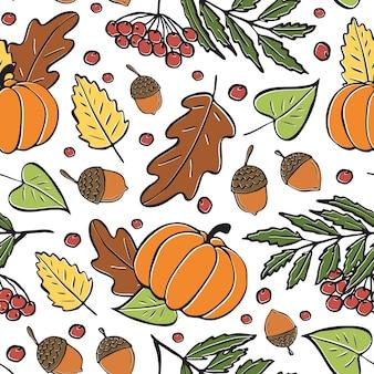 Padrão sem emenda de folhas de outono, abóboras e bolotas. padrão brilhante de outono desenhado à mão