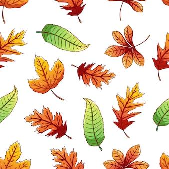Padrão sem emenda de folhas de outono com estilo colorido desenhado à mão