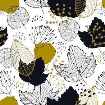 Padrão sem emenda de folhas de outono de vetor. fundo de outono para têxteis, papéis de parede, papel de embrulho e álbum de recortes. ilustração desenhada à mão