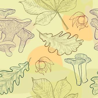 Padrão sem emenda de folhas de outono desenhadas à mão physalis e cogumelos