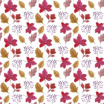 Padrão sem emenda de folhas de outono em aquarela