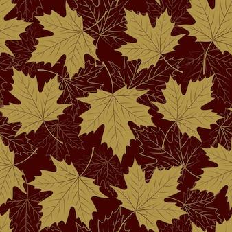 Padrão sem emenda de folhas de outono. folhagem de outono. repetindo design de cor dourada. ilustração vetorial eps10