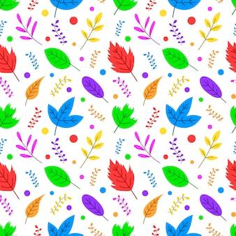 Padrão sem emenda de folhas de outono multicoloridas bonito dos desenhos animados.