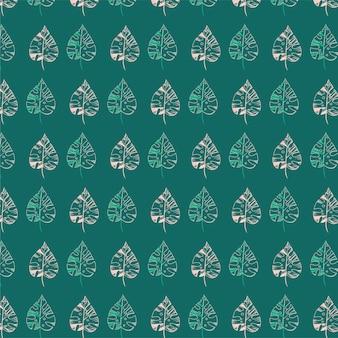 Padrão sem emenda de folhas de palmeira com fundo verde