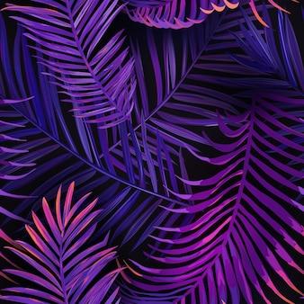 Padrão sem emenda de folhas de palmeira de néon tropical. selva fundo floral colorido roxo. projeto fluorescente de folhagem botânica exótica de verão com plantas tropicais para tecido, tecido da moda, papel de parede. vecto