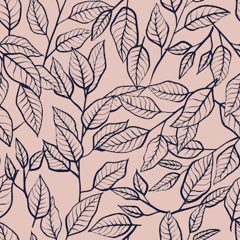 Padrão sem emenda de folhas desenhadas à mão