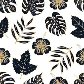 Padrão sem emenda de folhas e flores tropicais florais douradas de luxo
