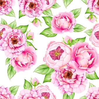 Padrão sem emenda de folhas florais em aquarela