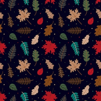 Padrão sem emenda de folhas secas variadas e pontos coloridos em dia de outono em fundo preto