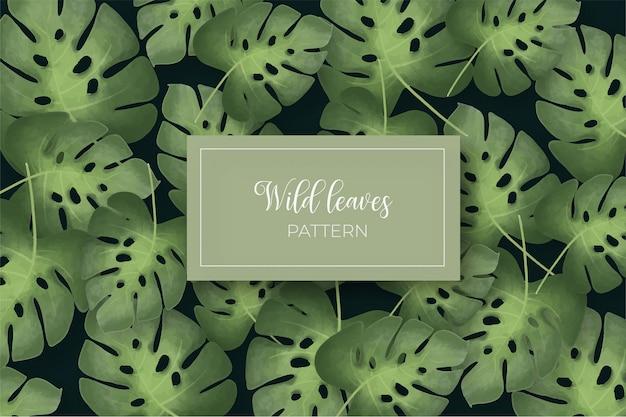 Padrão sem emenda de folhas selvagens