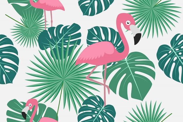 Padrão sem emenda de folhas tropicais com flamingo