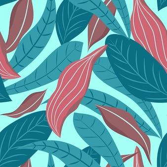 Padrão sem emenda de folhas tropicais em fundo azul
