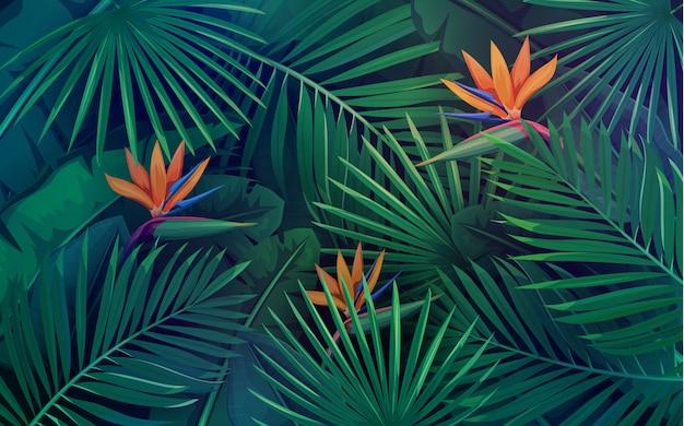 Padrão sem emenda de folhas tropicais