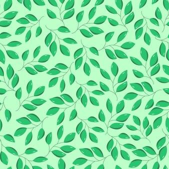 Padrão sem emenda de folhas verdes de uma árvore de folha caduca. ilustração de ramos de arbusto