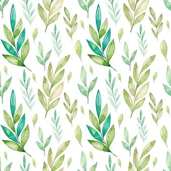 Padrão sem emenda de folhas verdes em aquarela