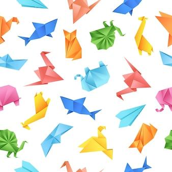 Padrão sem emenda de forma de papel origami em fundo branco ilustração vetorial para tecidos