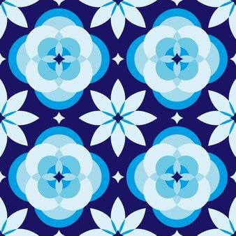 Padrão sem emenda de formas geométricas azuis e brancas