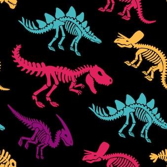Padrão sem emenda de fósseis de esqueletos de dinossauros. impressão de camiseta, tecido, fundo moderno.