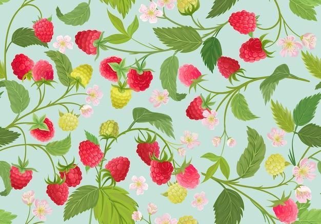 Padrão sem emenda de framboesa em aquarela. bagas de verão, frutas, folhas, fundo de flores. ilustração vetorial para capa de primavera, textura de papel de parede tropical, pano de fundo, convite de casamento